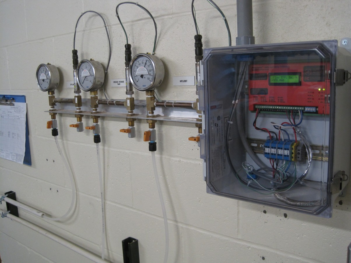 3 Preciseline pressure transducers and 1 EtherMeter connected to the pump station's multi-drop Modbus/RTU (RS485) network.  The transducers are monitoring effluent pressure, influent pressure, and ground storage tank level. (Click to zoom.)