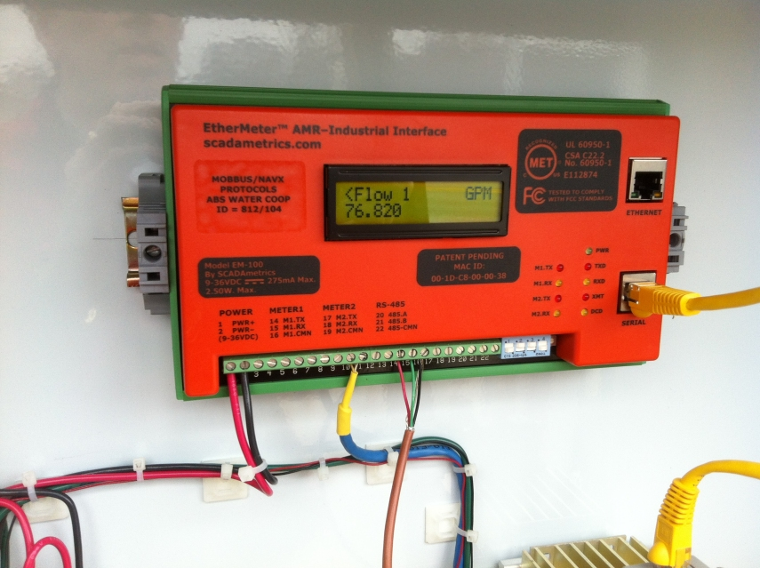 EtherMeter Displaying Near-Realtime Rate-of-Flow from 3 Inch Badger Turbo Meter.