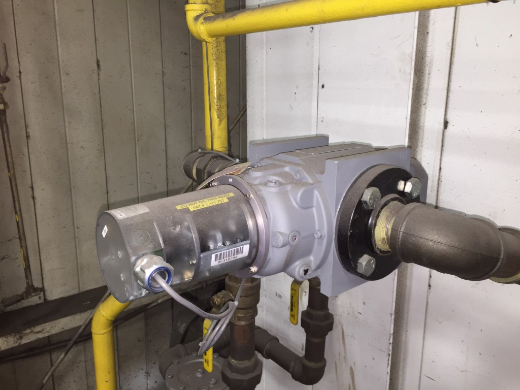 Dresser-Roots Rotary Natural Gas Meter with Pulse-Output Option.